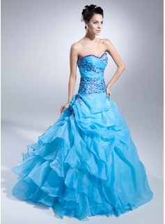 A-Line/Princess Sweetheart Floor-Length Organza Satin Quinceanera Dresses With Embroidered Ruffle Beading (021015109)