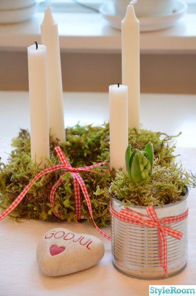 adventsljusstake,hyacint,konservburk,hjärta,mossa