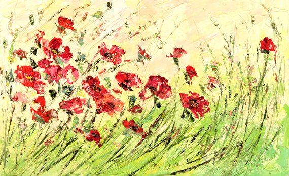 Grandes grandes de la pintura al óleo flores por ForestSandandAir Más