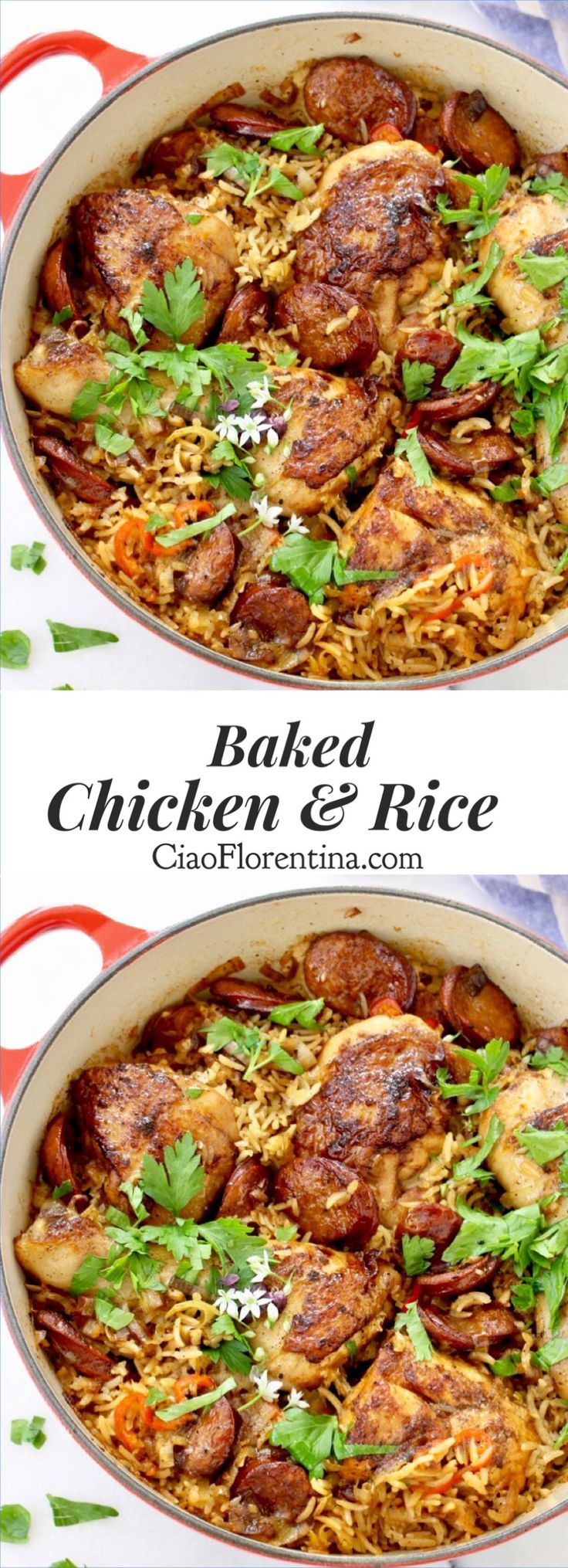Baked Chicken and Brown Rice with Leeks and Chicken Andouille Sausage | CiaoFlorentina.com @CiaoFlorentina