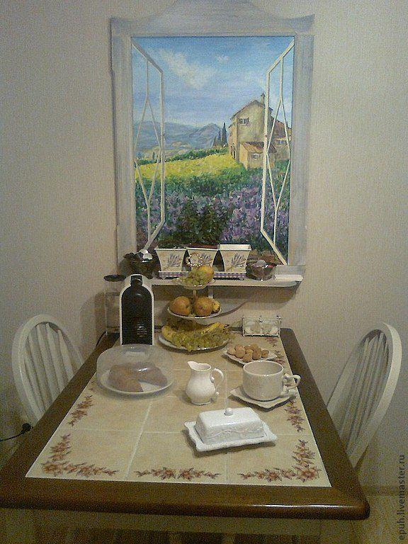 Купить Тосканский пейзаж. Интерьерное фальш-окно - фалшь-окно, Живопись, голубой, кухня Прованс