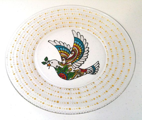 Wedding Dinnerware Christmas Dove with Olive Branch Colorful Holiday Hand Painted Glass Plates  A dove bearing an olive branch represents peace