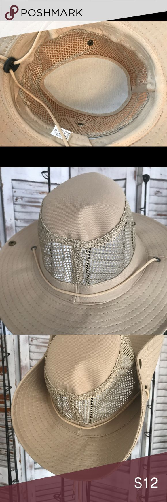 Men's Sun Hat 100% polyester beige hats fits all medium or large. Perfect for any outdoors activities. New Accessories Hats