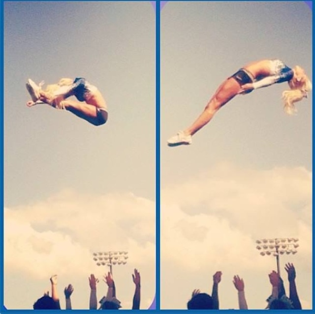 Great technique here for the pike-open basket toss. #takenotes #cheerleading #coaching
