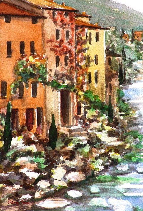 Lagrasse (14) - Phong Trinh Watercolor. More Fine Art Print Available at http://www.artpal.com/phongtrinh/