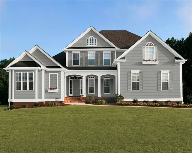 Sw summit gray shutters are set to summit gray as well house exterior ideas pinterest - Warm grey exterior paint colors set ...