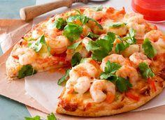 Sweet chilli prawn pizza