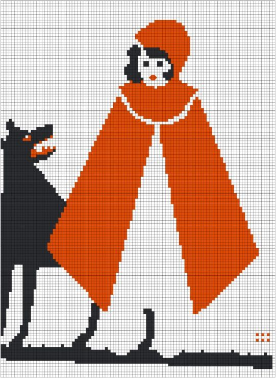 cross stitch red riding hood vintage 1920's style