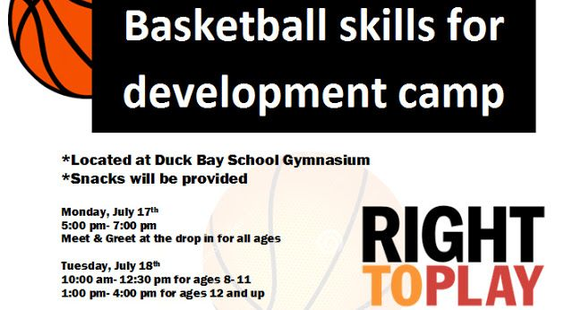 Right to Play Canada Hosting Basketball Clinic in Duck Bay MB July 17-21 2017   Cara Neufeld  Right to Play Canada has announced they will be hosting a special basketball camp in the Manitoba community of Duck Bay from July 17 to 21 2017. Duck Bay is located 450 km north west of Winnipeg on Lake Manitoba. The camp will be led by Cara Neufeld who has been a member of the Manitoba Bisons Women's Basketball Team and the Manitoba Provincial Team. The camp is open to area children ages 8 and up…