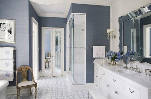 Blue grasscloth wallpaper bathroom  Beautiful Baths  Pinterest