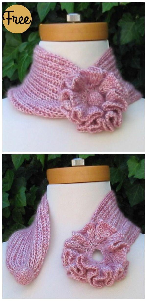 Self-Fastening Flower Scarf Free Knitting Pattern