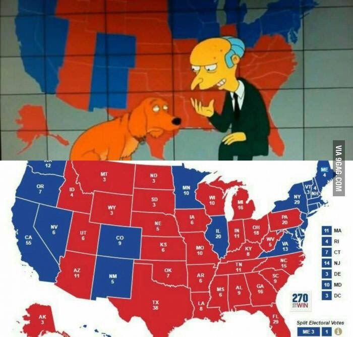 The Simpsons are on another level...not only did they predict Trump winning...they even had the electoral map 98% right.