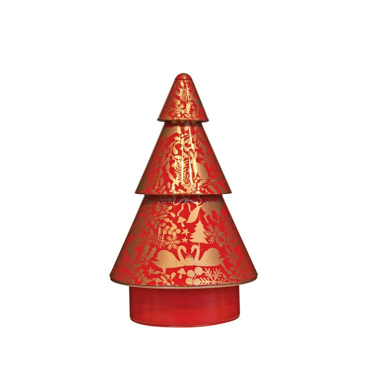"""A mini, rotating, tree that plays """"Jingle Bells"""" on loop. It doesn't get more magical than this. This 3-layered tree stands at 7.5"""" tall and plays """"Jingle Bells"""" as the tree rotates."""