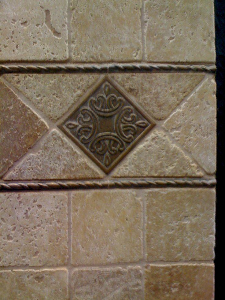 Travertine Tile backsplash - with metal deco tile and liners - Love  travertine