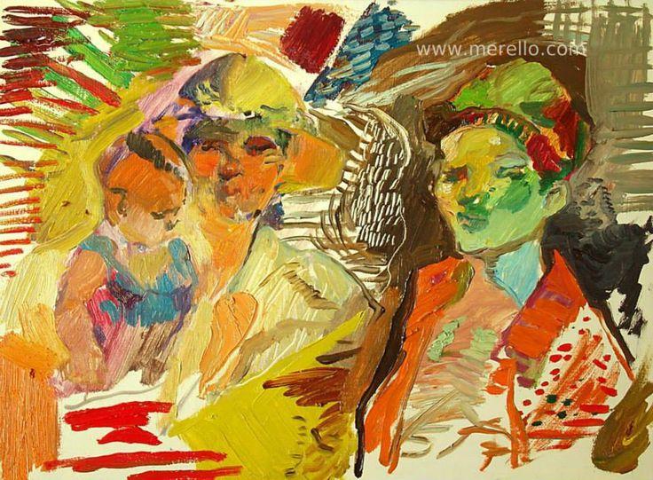 """EXPRESIONISMO LÍRICO. ARTE y POESÍA. Jose Manuel Merello.- """"Figures with baby."""" Arte contemporáneo. Pintores españoles actuales. Arte actual siglo 21. Pintura moderna. Cuadros de artistas contemporaneos. México, Miami, Madrid. Arte, Lujo e Inversión.Color y Decoración en el Arte Moderno. http://www.merello.com"""