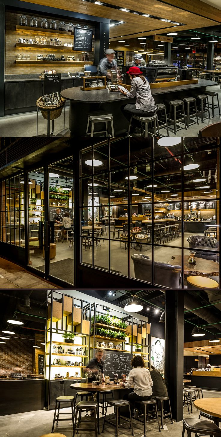 The Starbucks Reserve store in Williamsburg, Brooklyn, New York is home to art pieces that augment the café space and pay homage to local surroundings and coffee heritage.