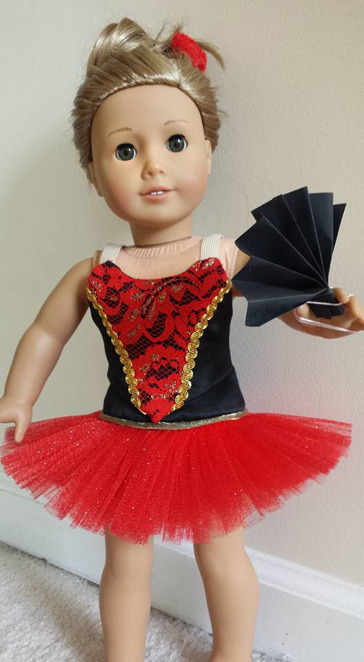 Kari D's collection of amazing Nutcracker ballet costumes for American Girl dolls continues with this stunning Spanish Dancer strapless bodice, basque and classical tutu. Make your own just-like-the-real-thing classical tutus and dance costumes using Lee & Pearl Pattern 1073: Prima Ballerina for 18 Inch Dolls, available in our Etsy store at https://www.etsy.com/listing/271744290/lp-1073-prima-ballerina-strapless-bodice