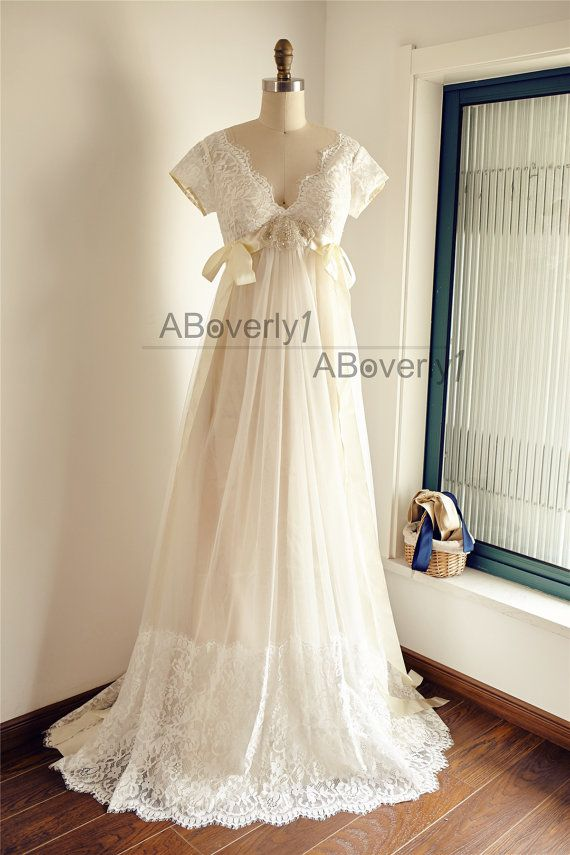 Dentelle Tulle Empire taille maternité mariage robe V par ABoverly1
