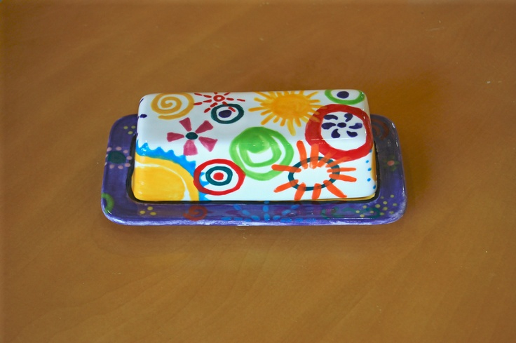 Ceramic Butter Dish, Creativity Art Studio, hand painted ceramics, http://creativityartstudio.com