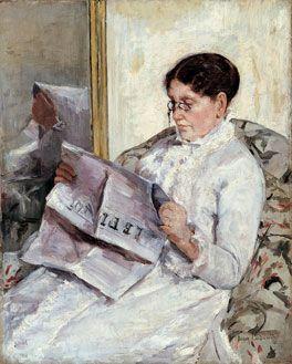 """Reading, Le Figaro"", (Portrait of Mary Cassatt's mother) c.1877-78. Gilded Age American Impressionist Artist, and printmaker: Mary Cassatt, (1844-1926). ~~ {cwl} ~~ (Image: Smithsonian American Art Museum)"