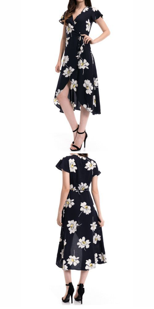 5d1da4866999 Maxi Wrap Dress Floral Short Sleeve : Fabulous floral print and wrap-front maxi  dress styled with a flattering, fluttery high/low hem in a breeze.