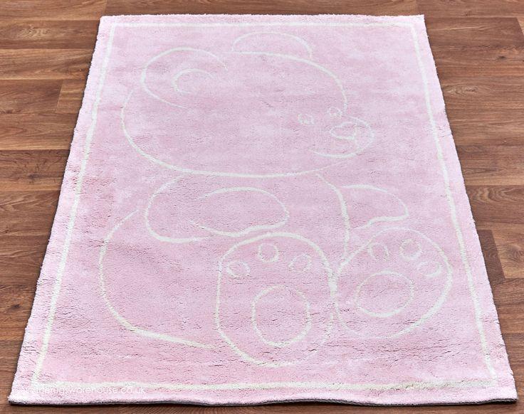 Teddy Pink Rug A White 100 Cotton Nursery Machine