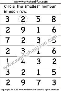 Number Comparison – Smallest Number – 1 Worksheet
