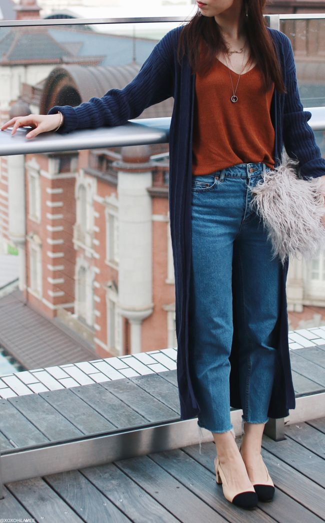 Japanese Fashion Blogger,MizuhoK,OOTD,hand me down from mother_long knit cardigan,Primeira classe_knit cami,H&M_mom jeans_CHOIES black toe mules,faux fur clutch bag,feminine casual simple chic