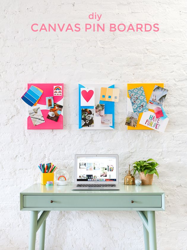Learn how to make these colorful canvas pin boards for your office in 30 minutes!