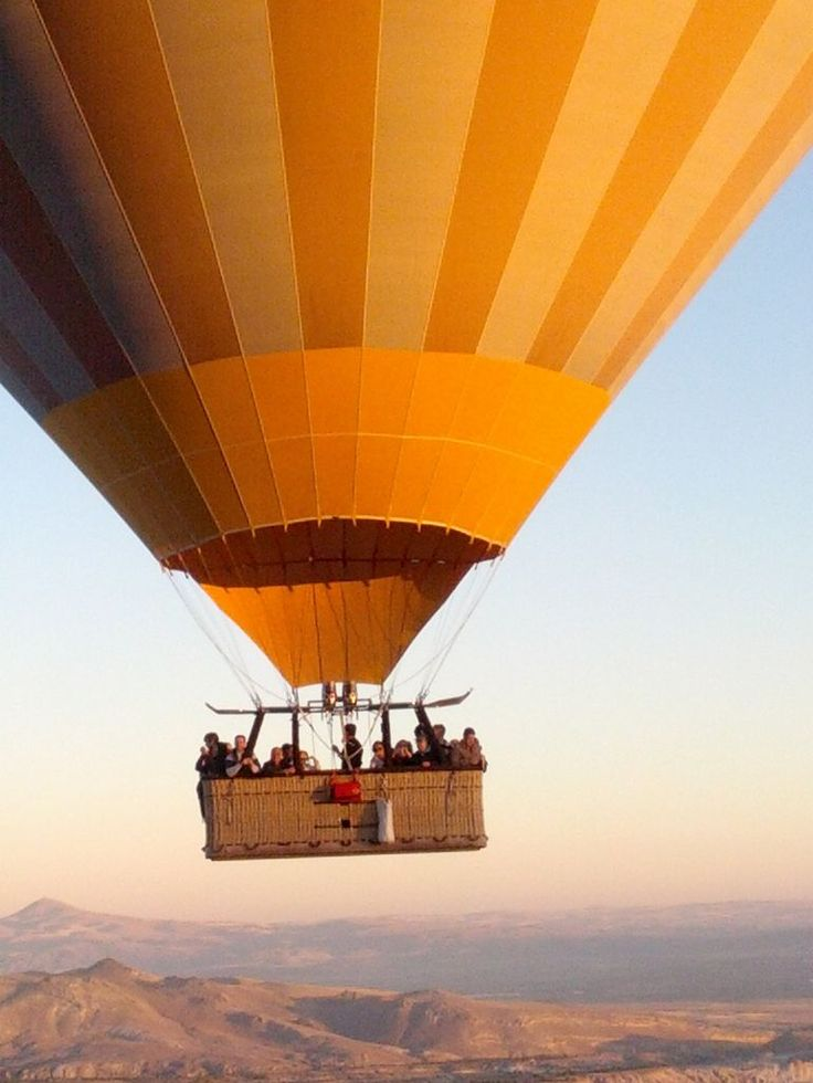 Gives you an idea how big the basket and balloon are. Hot air balloon in Cappadocia, Turkey