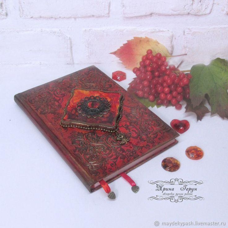 """Купить Ежедневник """"Брызги заката"""" - Декупаж, красный, ежедневник, подарок, подарок девушке, подарок на новый год"""