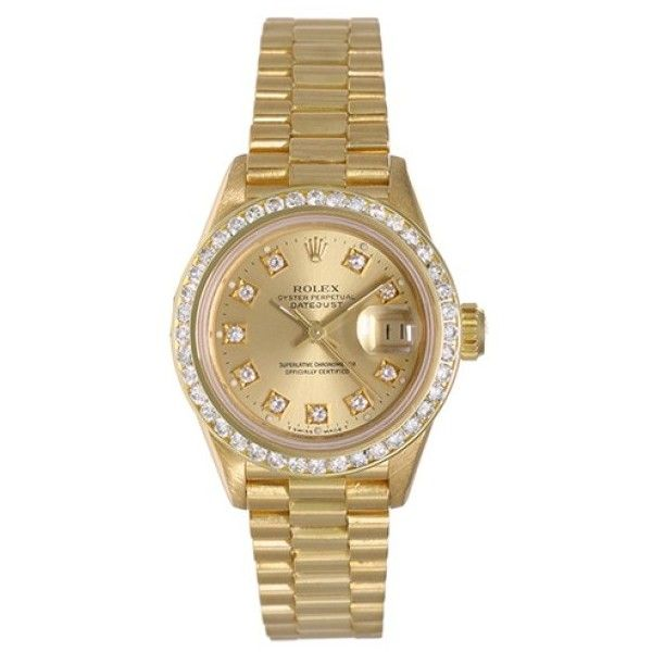 Pre-owned Rolex President 69178 18K Yellow Gold 26mm Womens Watch ($9,715) ❤ liked on Polyvore featuring jewelry, watches, gold dial watches, 18k watches, yellow gold jewelry, 18 karat gold jewelry and 18k gold watches