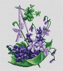 B110 Paragua con flores €9.50  Kit completo de punto de cruz Marca: Luca-S Hilos: Anchor Tela Aida: Zweigart Medidas: 17,5*17,5cm Colores: 17