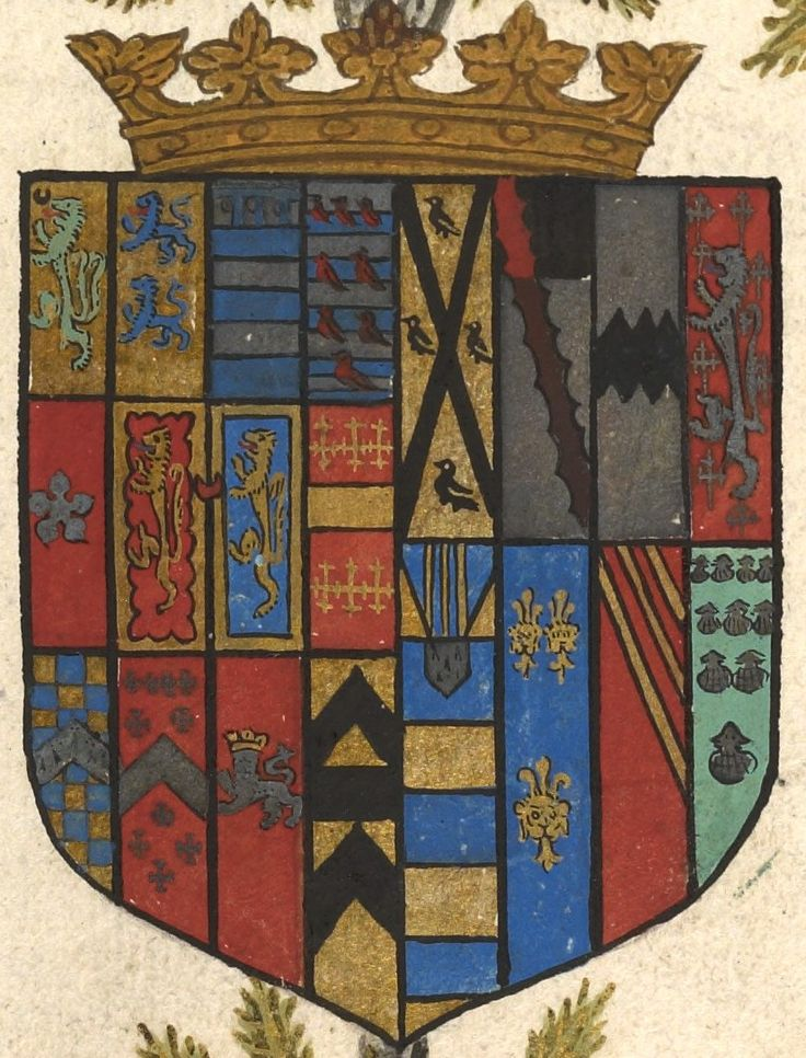 Coat of arms of Robert Dudley, Earl of Leicester (f°17v) -- Genelogies of the Erles of Lecestre and Chester, England, ca. 1572-1573 [Ms. Codex 1070 -http://hdl.library.upenn.edu/1017/d/medren/4218616]                                                                                                                                                                                 More