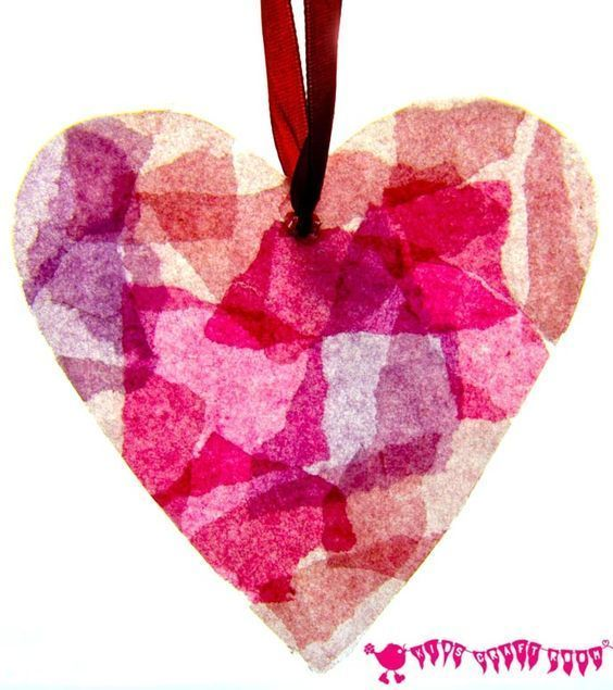 STAINED GLASS HEARTS - Can you believe these pretty hearts are made from old milk jugs? A fabulous kids craft for Valentine's Day or Mother's Day.