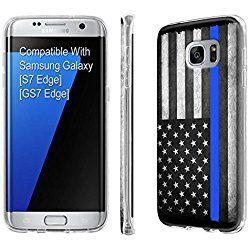 Galaxy [S7 Edge] [SlickCandy] [Clear] Slim Fit Gummy TPU Phone Case - [Police Blue Line Flag] for Samsung Galaxy [S7 Edge] [GS7 Edge]