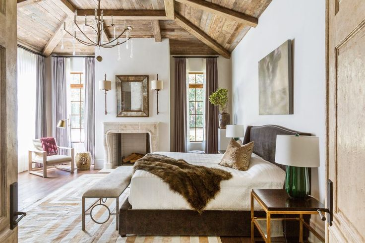 Marie Flanigan Interiors - Rustic Elegant Master Bedroom - Wood Ceilings - Grey
