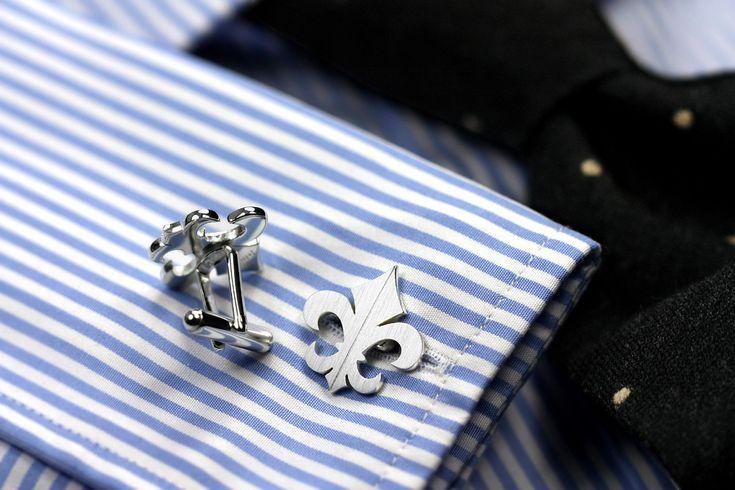 Fleur-de-lis sterling silver cufflinks