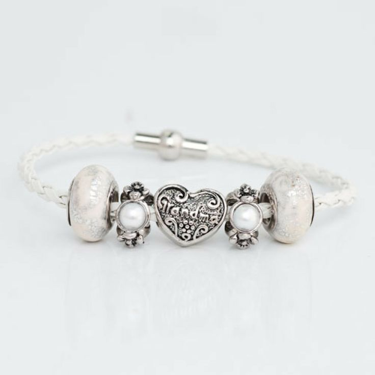 White Murano Glass Silver Plated Family Grandma Spacer Beads Set Leather Bracelet Fits Charms | Charmsstory.com #grandma #pandora #charms #charmbracelet #chamilia #pugster #charmsstory