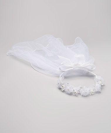 Look at this #zulilyfind! White Flower Veil by Fouger for Kids #zulilyfinds