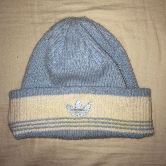 VINTAGE adidas beanie RARE af old school blue adidas beanie. tag says one size fits all. a little scuffed up but nothing a good wash wouldn't take out Adidas Accessories Hats