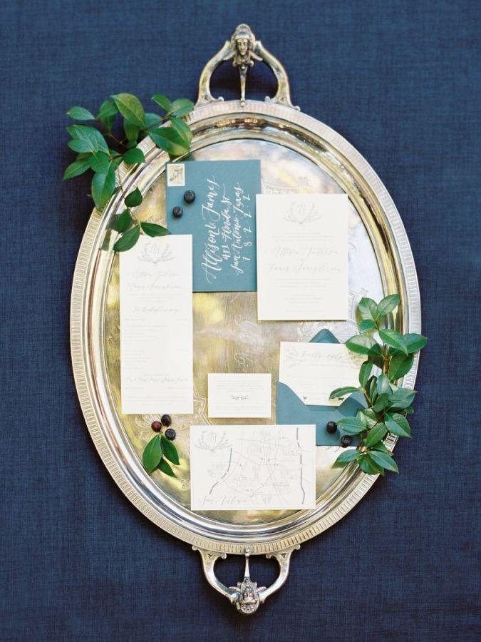 Slate wedding invitation suite: http://www.stylemepretty.com/2017/03/21/texas-winter-garden-wedding/ Photography: Michelle Boyd - http://www.michelleboydphotography.com/