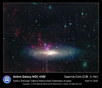 An image of NGC 4388 in infrared wavelengths, captured by ground-based Subaru telescope.