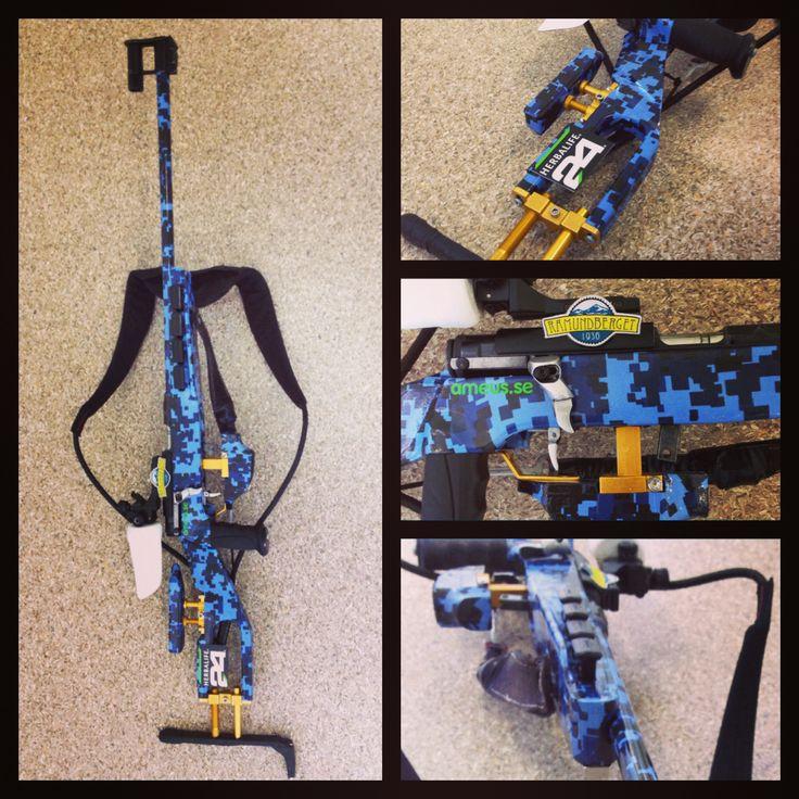 Design nr. 8: Biathlon Sanseigne with blue CGB-camo design with Gold accents.