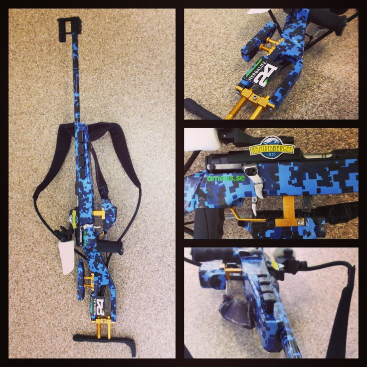 Design nr. 8: Biathlon Sanseigne with blue CGB-camo design with Gold accents.