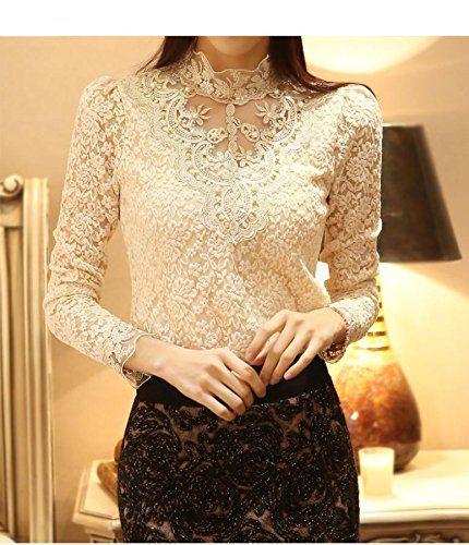 Autumn Women Crochet Blouse Lace Sheer Shirs Tops for Women Clothing Vestidos Blusas Femininas Blouses Plus Size (XXL, Beige)