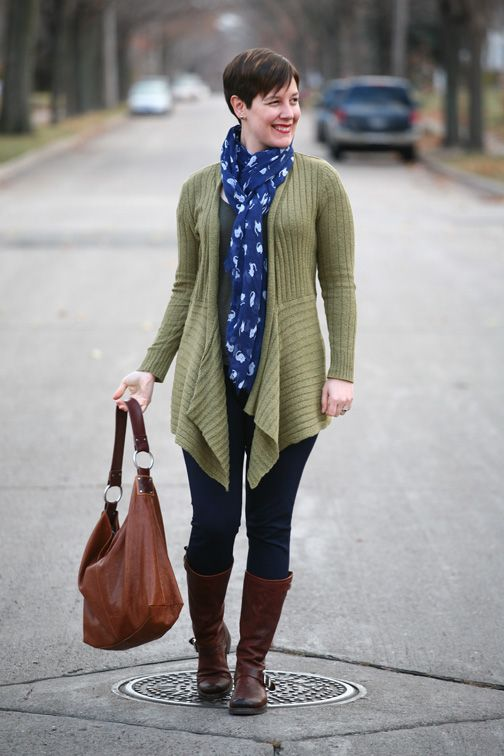 Already Pretty outfit featuring olive waterfall cardigan, cat print scarf, Ellington Handbags hobo, Frye Veronica Slouch boots