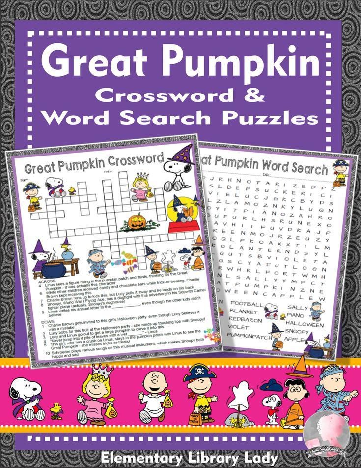Great Pumpkin Activities Charlie Brown Halloween Crossword