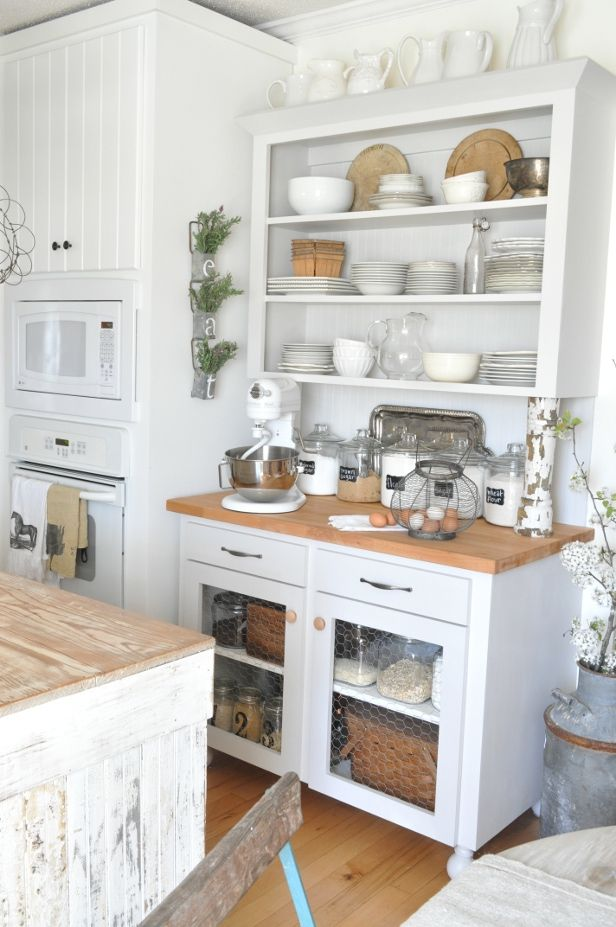 Get the Look: Beckys White and Rustic Kitchen  -  This looks a lot like the cupboard in my kitchen