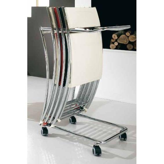 Carrello porta sedie pieghevoli Friulsedie - La struttura cromata  e di grande capacità di trasporto. I suoi vantaggi principali sono: leggerezza e solidità. Dotata di ruote, lo Slim Trolley può trasportare da 8 a 10 sedie pieghevoli. Utile per riporre e conservare le tue sedie Slim di Friulsedie. Le sue pratiche dimensioni consentono di risparmiare spazio.